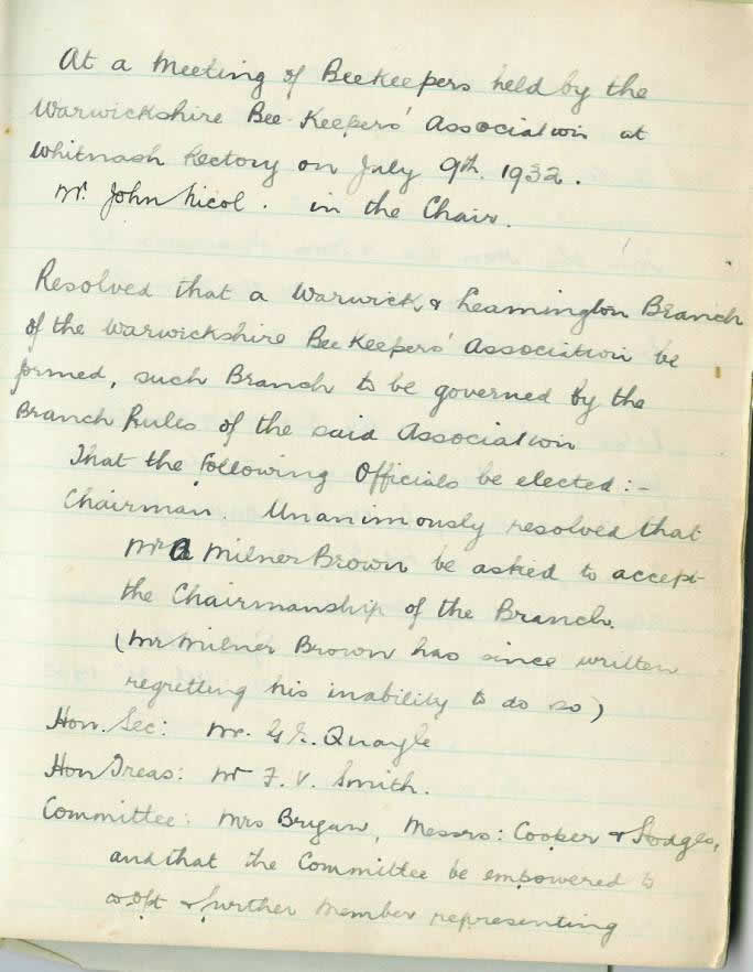 Original record of the Setting up of Warwick and Leamington Branch of Warwickshire Beekeepers Association