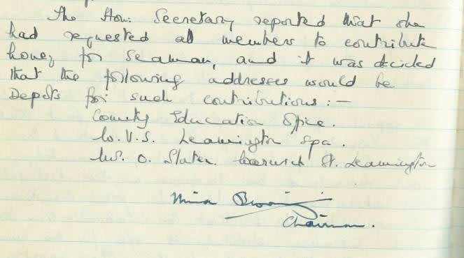 Original record of the request for Branch members to donate honey to Seamen during the war.