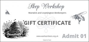 Beekeeping Skep Workshop Certificates are available on request.